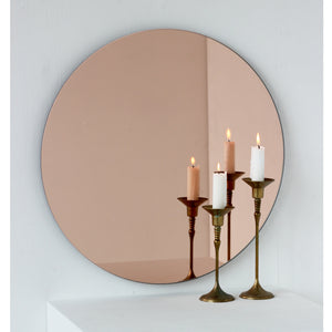 Orbis™ Rose gold / Peach Tinted Minimalist Round Frameless Mirror