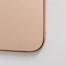 Quadris™ Rectangular Rose Gold Minimalist Mirror with a Copper Frame