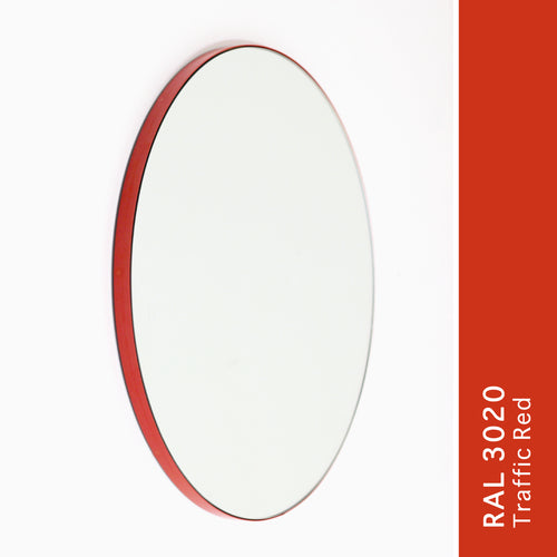 Orbis™ Round Modern Mirror with Lively Red Frame