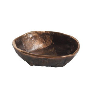 Rounded Handmade Cast Bronze Bowl Inspired by Wabi-Sabi, Vide-Poche