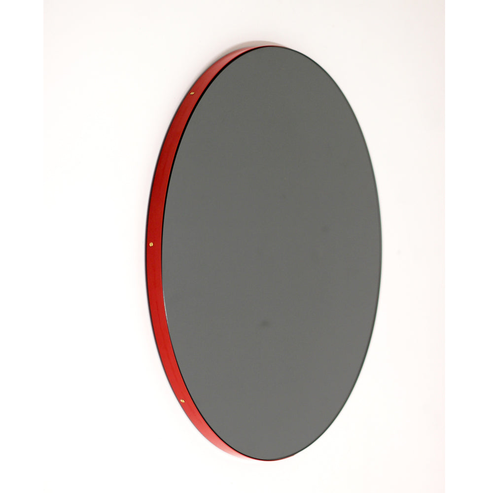 Orbis™ Round Black Tinted Contemporary Mirror with Red Frame