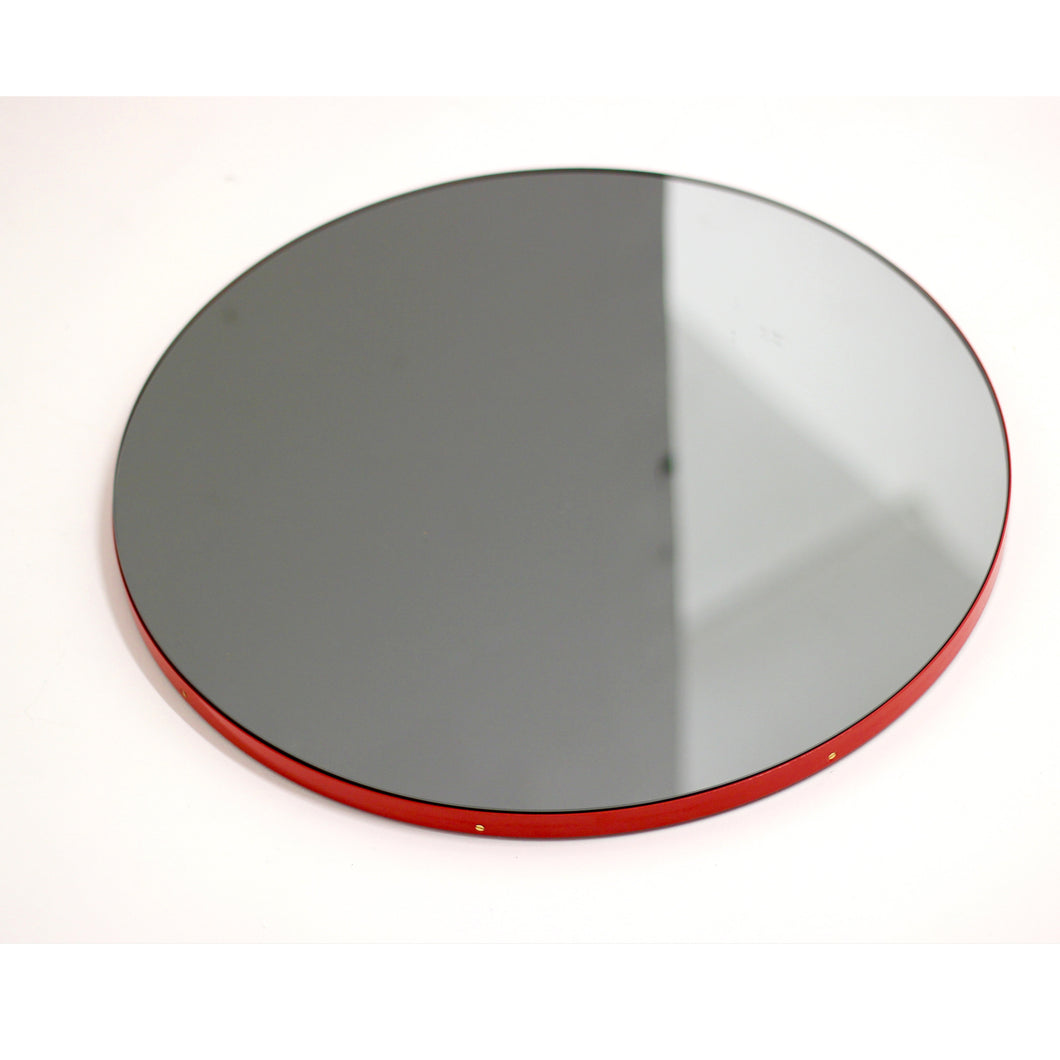 Orbis™ Round Black Tinted Mirror with Red Frame