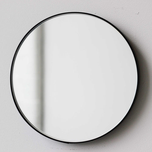 Orbis™ Round Art Deco Customizable Mirror with a Black Frame