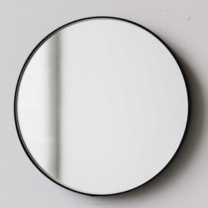 Silver Orbis™ round mirror with BLACK frame