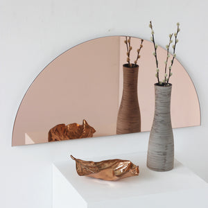 Luna™ Round 2 Half-Moon Pieces Mixed Tinted (Silver + Rose) Frameless Mirror