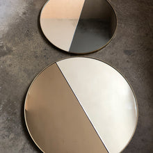 Mixed Tint Dualis Orbis™ round mirror with BRASS frame