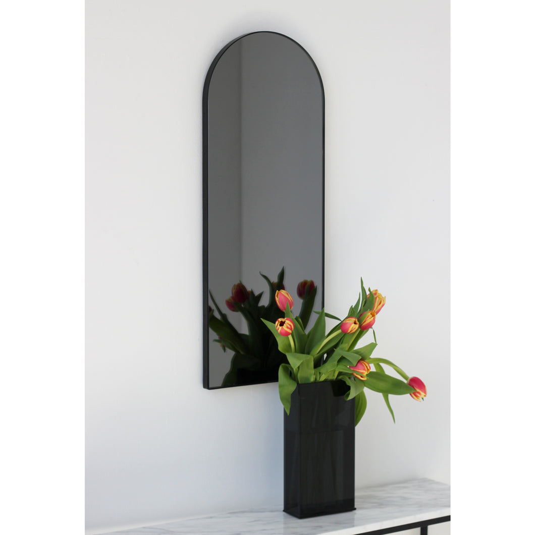 Arcus™ Arch shaped Black Tinted Contemporary Mirror with a Black Frame