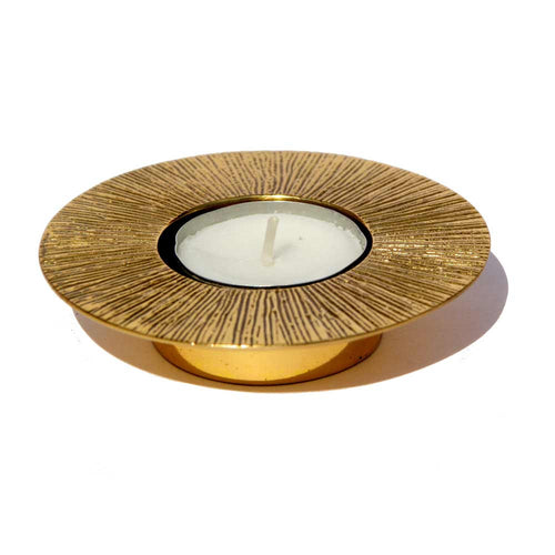 Brass Sun tealight candle holder