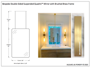 Bespoke Suspended Mirror with two rods - brushed brass finish