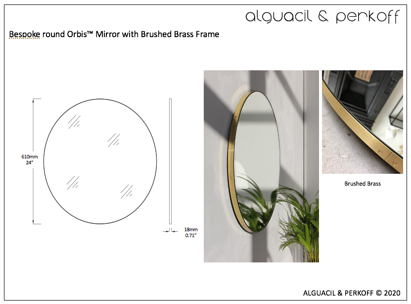 Bespoke Orbis™ round mirror with brushed brass frame - 24