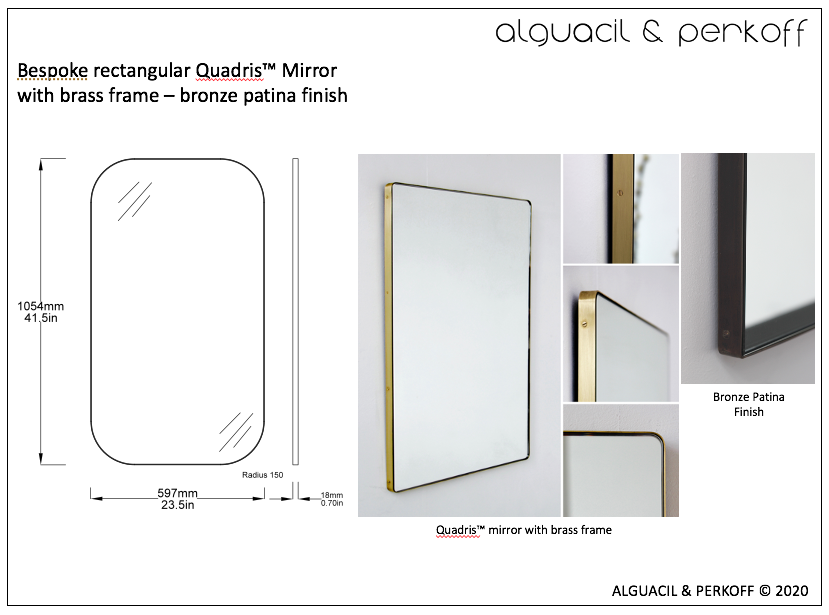 Bespoke Quadris™ Mirror with Brass Frame - Bronze Patina Finish