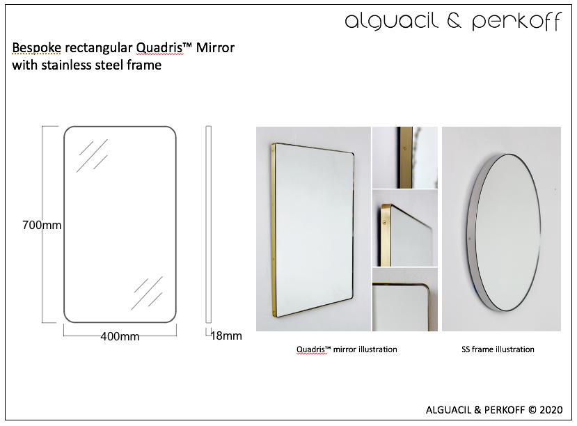 Bespoke Quadris™ Mirror with Stainless Steel Frame (FL)