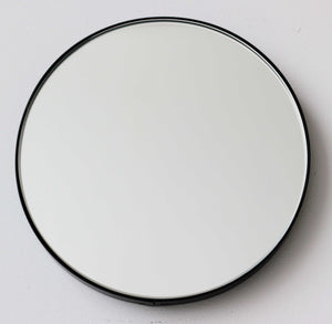 Orbis™ Round Art Deco Mirror with a Black Frame
