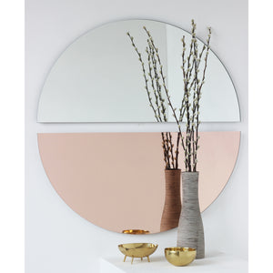 Luna™ Round 2 Half-Moon Pieces Mixed Tinted (Silver + Rose) Frameless Mirror Alguacil & Perkoff