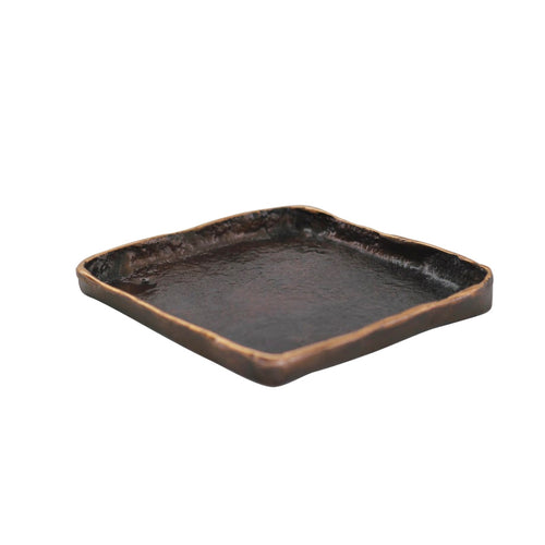 Small Handmade Cast Bronze Tray Inspired by Wabi-Sabi - Trinket Tray