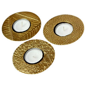 Set of Three Cast Brass and Textured Tealight Holders