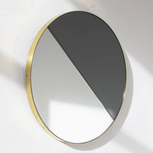 Mixed Tint Dualis Orbis round mirror™ with BRASS frame