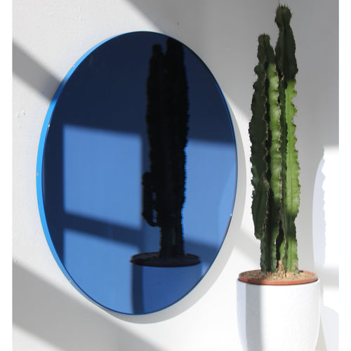 Orbis™ Round Blue Tinted Contemporary Mirror with Blue Frame