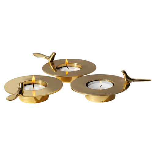 Set of Three, One Bird Brass Tea Light Holders