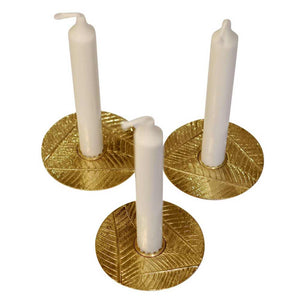 Set of 3 brass Leaves taper candle holders