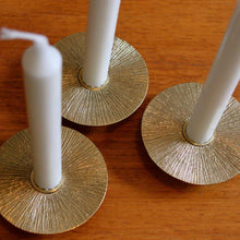 Set of 3 brass Sun taper candle holders