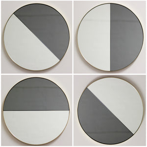Orbis Dualis™ Mixed Tint (Black + Silver) Contemporary Round Mirror with Brass Frame