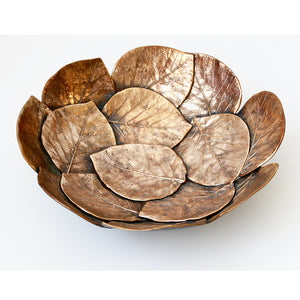 Handmade Brass Cast Leaf Bowl 'Small'