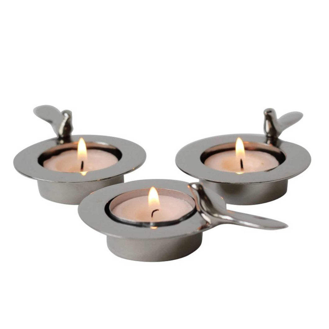 Set of Three, One Bird Nickel Plated Tea-Light Holders