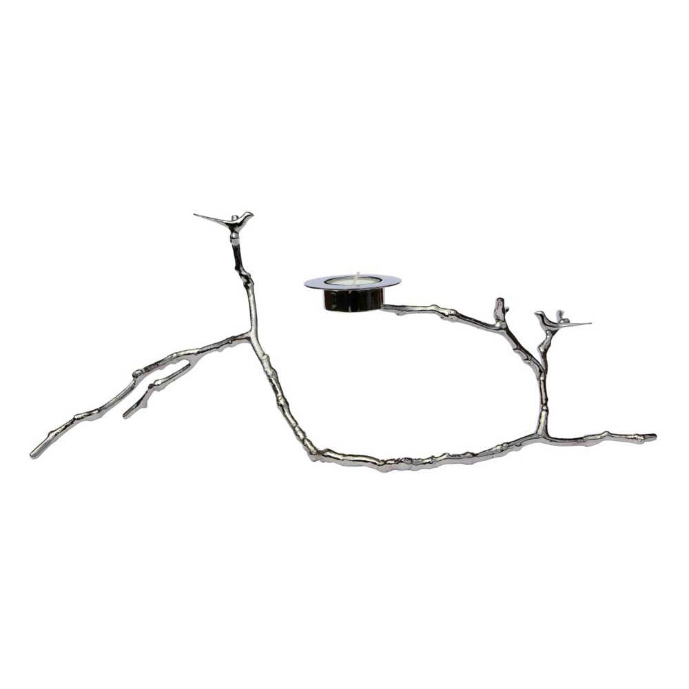 Magnolia Twig Nickel Plated Candle Holder - Long
