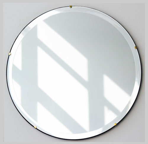 Beveled Silver Orbis Round Mirror Frameless with Brass Clips and velvet backing