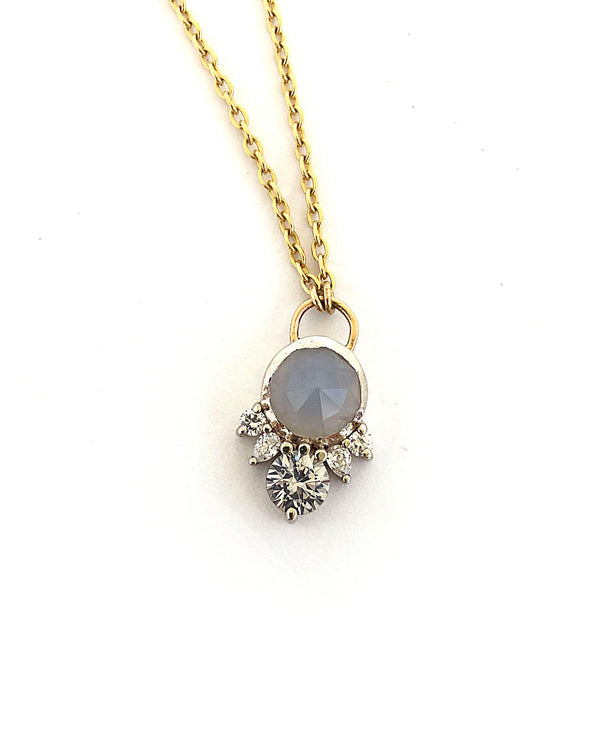 ARYN Agate, Sapphire & Diamond Necklace **READY TO SHIP**