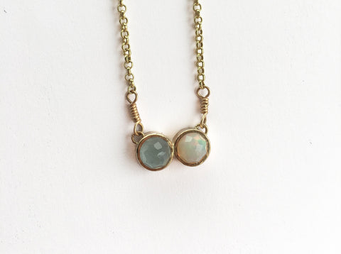 CADI Aquamarine & Opal Necklace