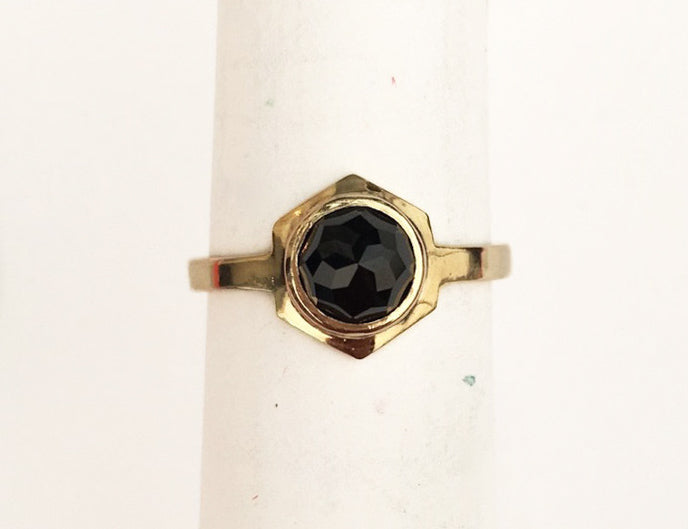 CLIO Ring - 10k Yellow Gold & Black Spinel