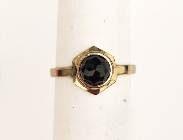 'Clio' Ring - Yellow Gold with Black Spinel
