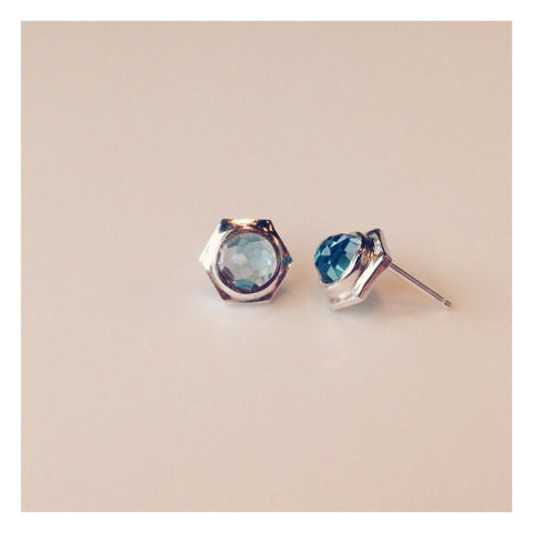 Single Hex Studs - Swiss Blue Topaz