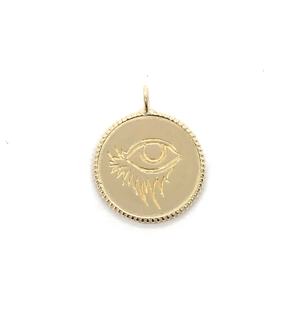 14k Large COIN Charm - EYE of ALEX - *READY to SHIP*