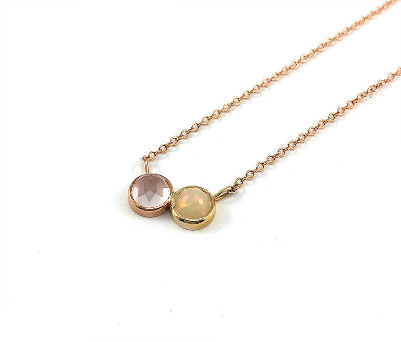 CADI necklace - Rose Quartz & Ethiopian Opal **READY TO SHIP**