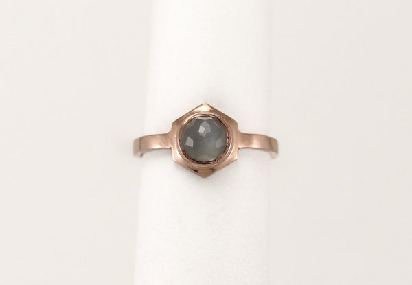 CLIO Ring - 10k Rose Gold & Grey Moonstone