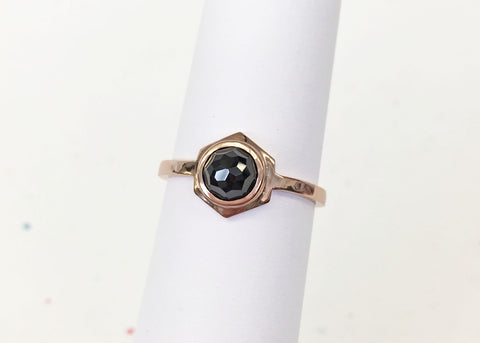 Single Hex Ring - Rose Gold with Black Spinel