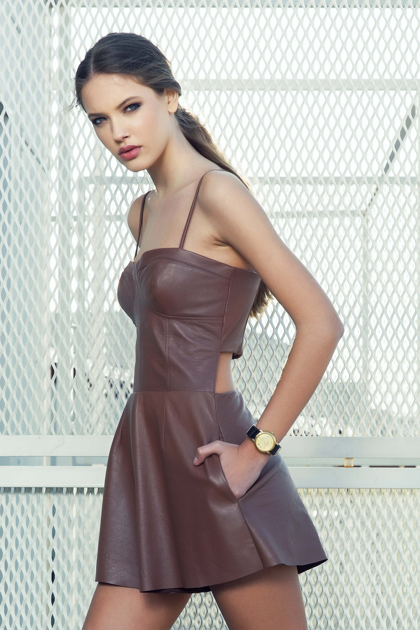 Leather cut out back dress