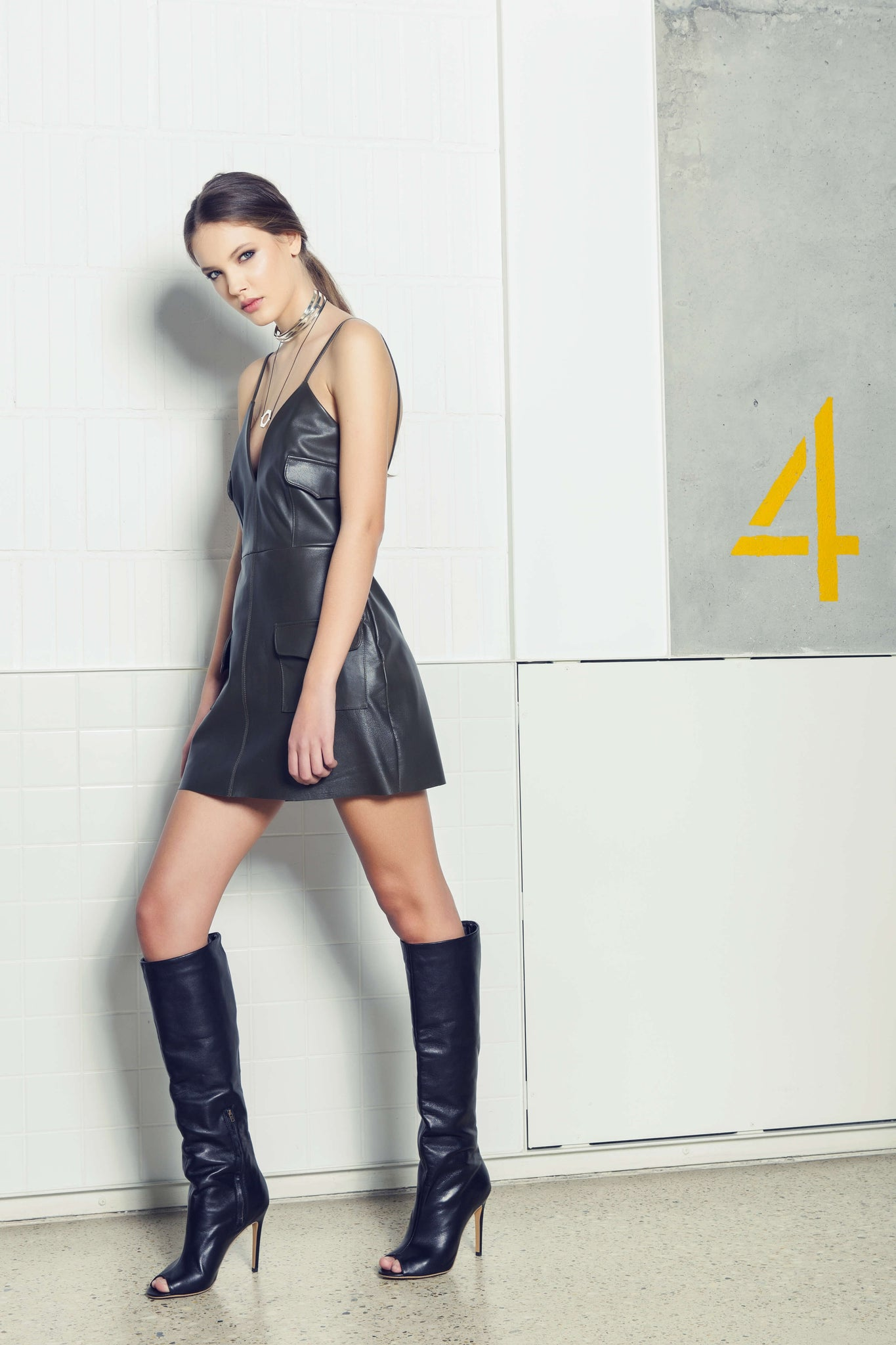 Leather black pocket dress