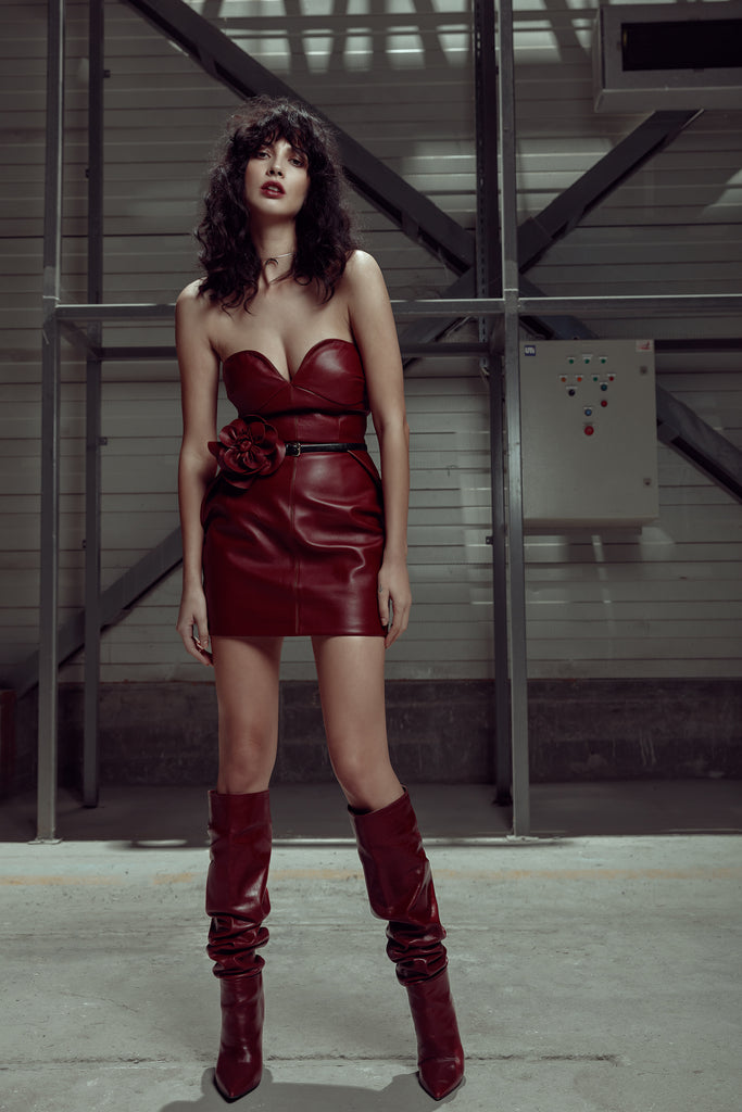 leather dress red