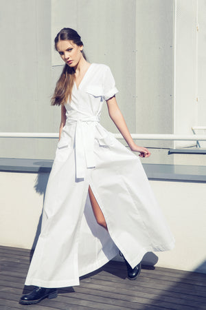 Belted Cotton Dress, Dress, Andra Andreescu - Andra Andreescu Design