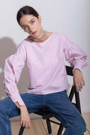 Cotton Shirt with Puffed Sleeves, Shirt - A.A Design