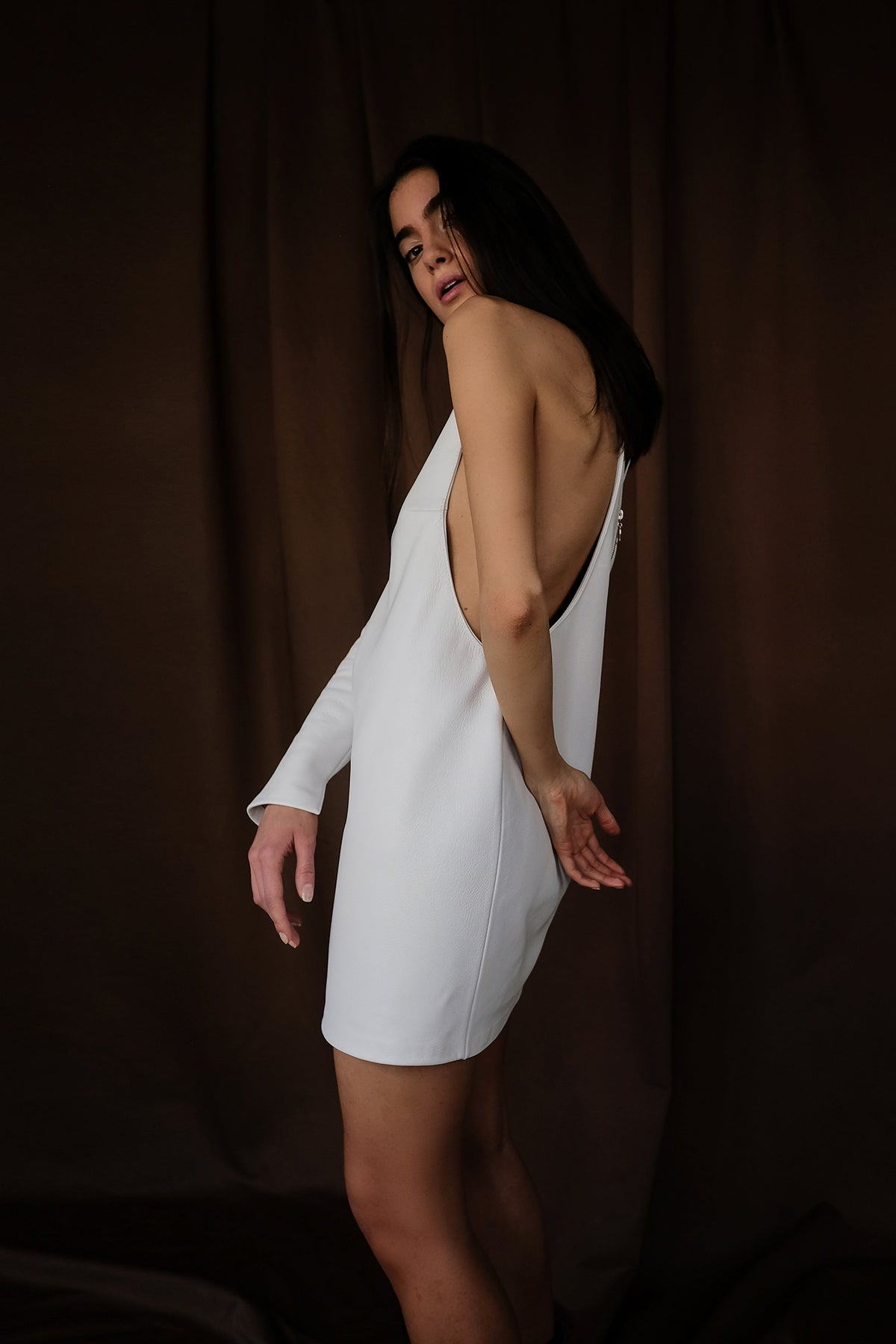 Cutout Leather Mini Dress, Dress, Andra Andreescu - Andra Andreescu Design