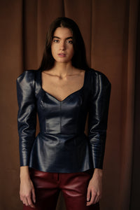 Leather Top with Puffed Shoulders, Top, Andra Andreescu - Andra Andreescu Design