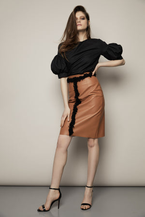Embroidered Leather Skirt, Skirt - A.A Design