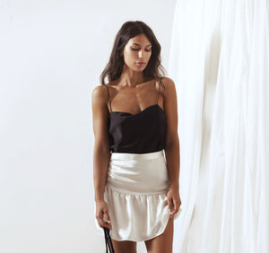 SELENE SILK RUFFLED  MINI SKIRT, Skirt - A.A Design