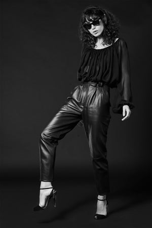 High-Rise Leather Pants - Andra Andreescu