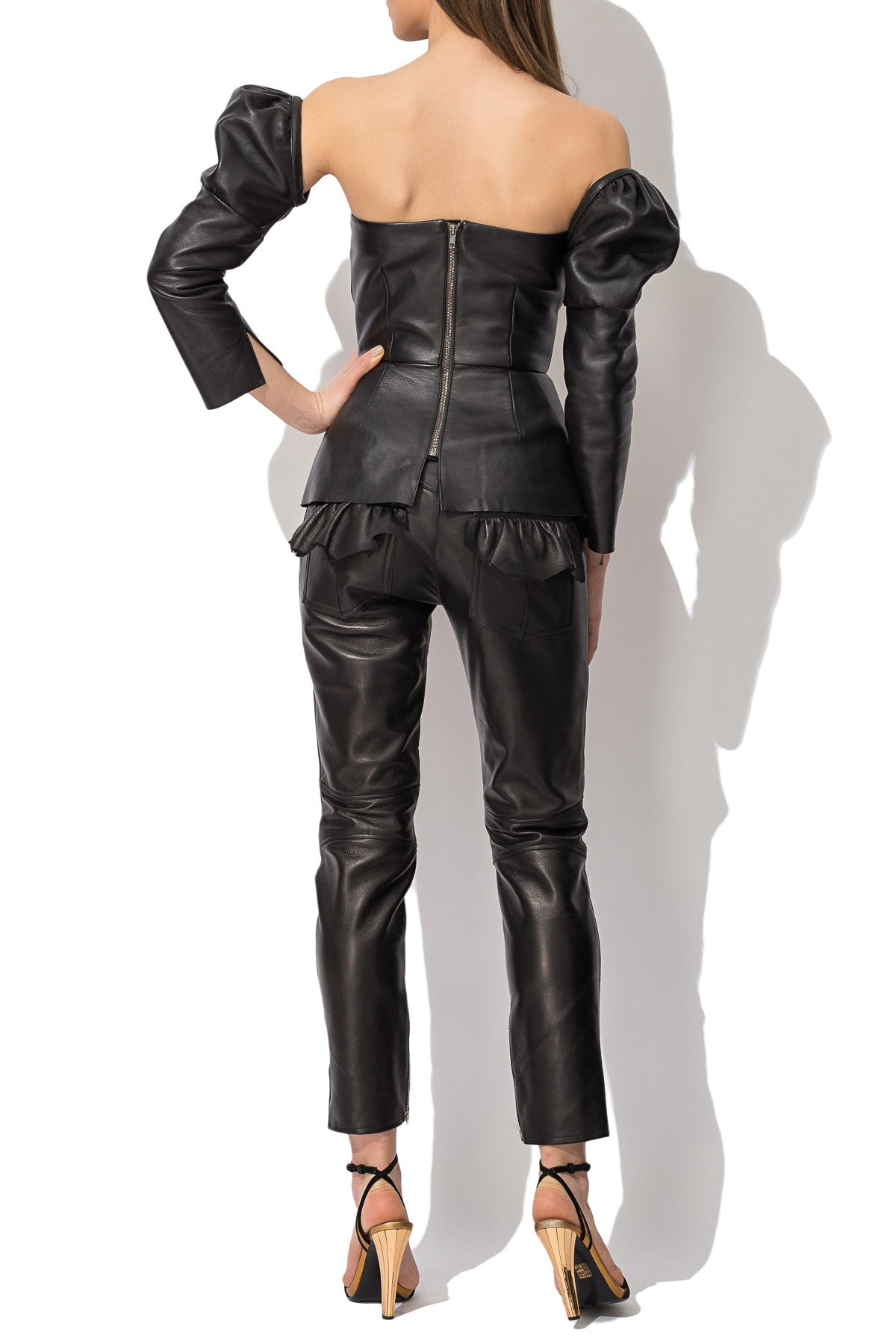 Leather Top with Detachable Sleeves, Top - A.A Design